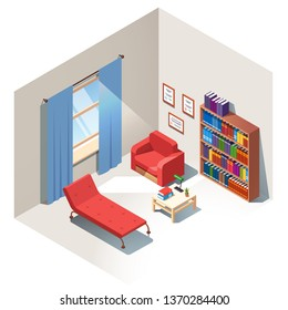 Psychologist office with couch, armchair, big bookcase and window. Psychology counseling workplace. Cozy room interior with furniture & books library. Flat isometric pseudo 3d vector illustration