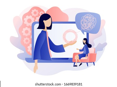 Psychologist online. Psychotherapy practice, psychological help, psychiatrist consulting patient. Psychology. Modern flat cartoon style. Vector illustration on white background