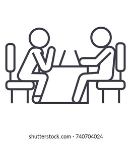 psychologist and patient linear icon, sign, symbol, vector on isolated background