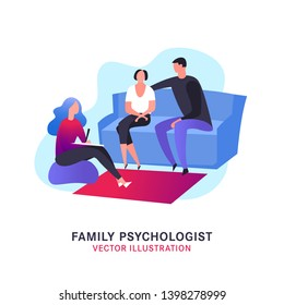 Psychologist, psychotherapist creative concept useful for brochure, leaflet, print design. Editable vector illustration in bright trendy colors. Phycology, physiology, psychiatry image