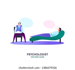 Psychologist, psychotherapist icon. Creative concept useful for logotype, pictogram, symbol design. Editable vector illustration in bright trendy colors. Phycology, Physiology, Psychiatry image
