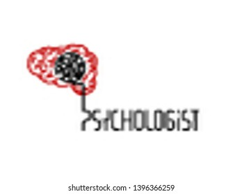 Psychologist, psychotherapist icon. Creative concept useful for logotype, pictogram, symbol design. Editable vector illustration in grey and red colors. Phycology, Physiology, Psychiatry image