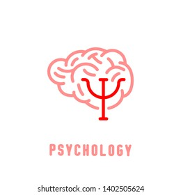 Psychologist, psychotherapist icon. Creative concept useful for logotype, pictogram, symbol design. Editable vector illustration in red and light pink colors. Phycology, Physiology, Psychiatry image