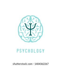 Psychologist, psychotherapist icon. Creative concept useful for logotype, pictogram, symbol design. Editable vector illustration in green and light blue colors. Phycology, Physiology, Psychiatry image