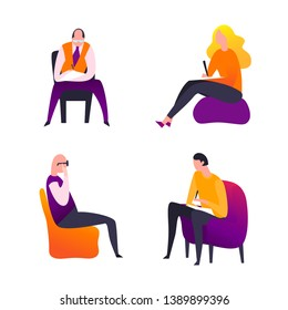 Psychologist, psychotherapist icons set. Creative collection useful for logotype, pictogram, symbol design. Vector illustration in bright trendy colors. Phycology, Physiology, Psychiatry image