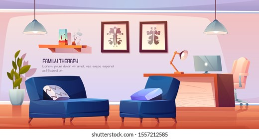 Psychologist, psychotherapist office with stuff and furniture for family therapy, practitioner cabinet in clinic with table, couches with pillows, rorschach test on wall. Cartoon vector illustration