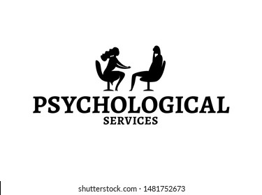 Psychologist, psychotherapist services. Creative concept useful for logotype, insignia, brand identity design. Editable vector illustration in black color. Phycology, Physiology, Psychiatry image