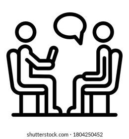 Das Symbol für die Sitzung des Psychologen. Rahmenpsychologe Session Vektorsymbol für Webdesign einzeln auf weißem Hintergrund