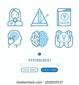 Psychologist thin line icons set: psychiatrist, pendulum, mental health, psychological support. Vector illustration, web page template.