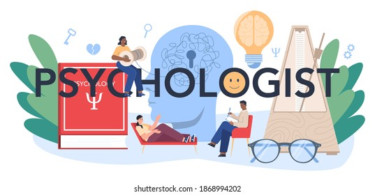 Psychologist typographic header. Mental health diagnostic. Doctor treating human mind. Psychological support. Problem with mind. Vector illustration in cartoon style
