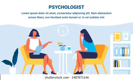 Psychologist and Woman Patient in Psychologist Office. Woman Depression. Psychological Help. Vector Illustration. Training for Women. Advertising Image. Research Subconscious. Psychologist Support.