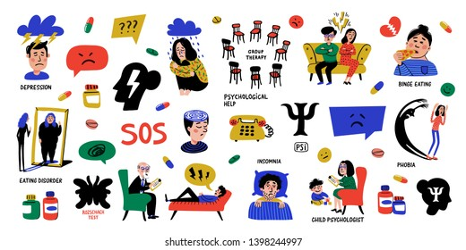 Psychology. Big Set of hand drawn icons on white background. Psychology, brain and mental health vector icons set. Doodle style flat vector illustration.