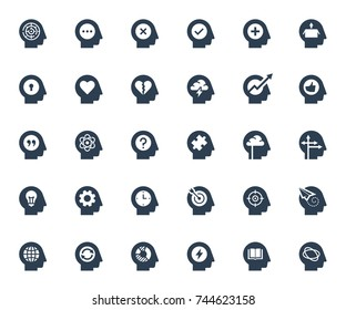 Psychology, brain activity and head related concepts glyph style icon set