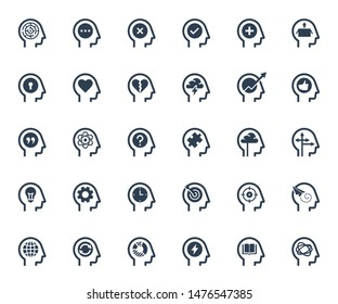 Psychology, Brain Activity and Processes Related Icon Set in Glyph Style