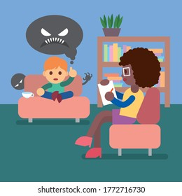 Psychology. Child psychology. The psychologist is talking with the child.