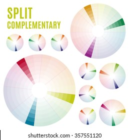 Psychology of color perception. Harmonies of colors. Basic Split complementary set Part 3. Representation in pie charts with the applicable pallets.