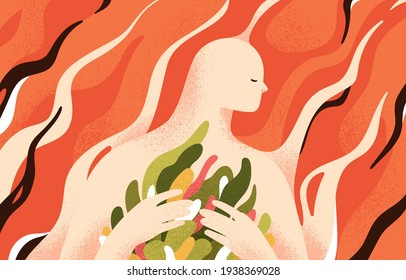 Psychology concept of mental health, soul recovery, self-care and inner world cultivation. Development of love in yourself and overcoming personal problems. Colored flat textured vector illustration