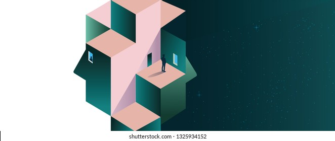 Psychology concept vector illustration. Mental health, depression, seasonal affected, sleep disorder. Psychiatry, philosophy.