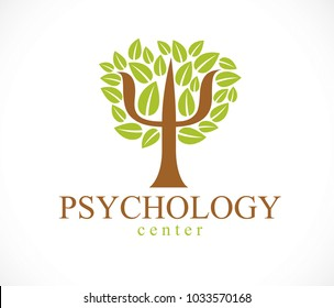 Psychology concept vector logo or icon created with Greek Psi symbol as a green tree with leaves, mental health concept, psychoanalysis analysis and psychotherapy.