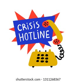 Psychology. Crisis hotline, Support call, psychological help. Yellow hand drawn phone with rad and blue speech bubble. Doodle style flat vector illustration.