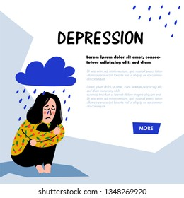 Psychology. Depression concept. Sad, unhappy girl, sitting under rain cloud. Young woman in depression hugging her knees and crying. Doodle style flat vector illustration.