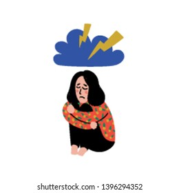 Psychology. Depression. Sad, unhappy girl, sitting under thundercloud. Young woman in depression hugging her knees and crying. Doodle style flat vector illustration.