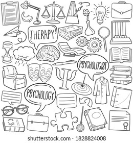 Psychology doodle icon set. Theraphy Vector illustration collection. Psychologist Hand drawn Line art style.