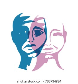 The psychology of dual personality. Schizophrenia is a vector illustration.