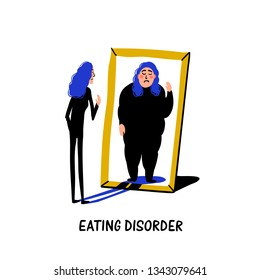 Psychology. Eating disorder, anorexia or bulimia. Slim young woman looking in mirror and seeing herself as overweight. Doodle style flat vector illustration.