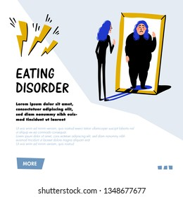Psychology. Eating disorder, anorexia or bulimia concept. Slim young woman looking in mirror and seeing herself as overweight. Doodle style flat vector illustration.