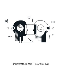 Psychology education concept. Emotional intelligence concept, communication skills, reasoning and persuasion. Linear design illustration