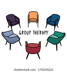 Psychology. Group therapy. The chairs are arranged in a circle. Concept of psychological problems.