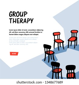 Psychology. Group therapy concept. Hand drawn chairs arranged in a circle. Group suuport for people suffering psychology disorders and addictions. Doodle slyle flat vector illustration
