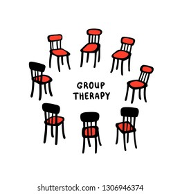 Psychology. Group therapy. Hand drawn chairs arranged in a circle. Group suuport for people suffering psychology disorders and addictions. Doodle slyle flat vector illustration