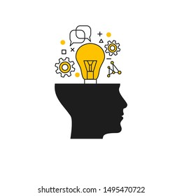Psychology icon. psychologist, icon psychotherapy, psychotherapist, symbol training, coaching, consulting, two human profiles. Vector illustration
