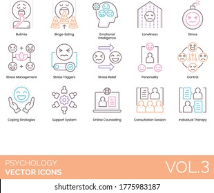 Psychology icons including bulimia, binge eating, emotional intelligence, loneliness, stress management, trigger, relief, personality, control, coping strategy, support system, online counseling.