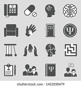 Psychology Icons. Sticker Design. Vector Illustration.