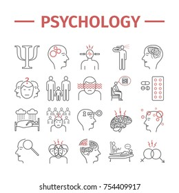 Psychology line icons set. Mental health. Infographic. Vector signs for web graphics.