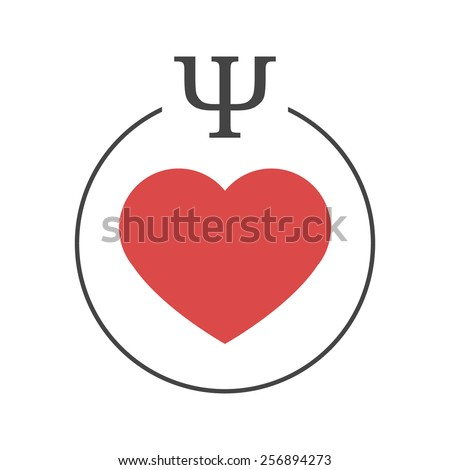 Psychology Love Logo Red Heart Circle Stock Vector Royalty Free