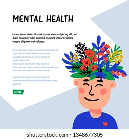 Psychology. Mental health concept. Man character with flower head. Mental health concept, good mood, harmony . Doodle style flat vector illustration