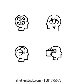 Psychology meticulous detailed rounded lineal icon set 10 EPS vector format. Transparent background.