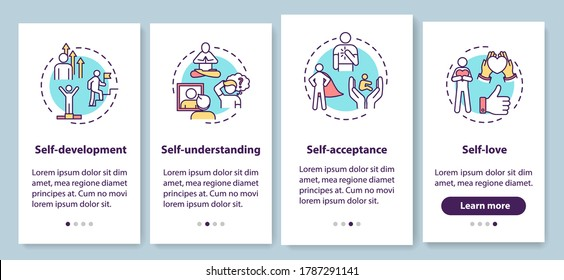 Psychology onboarding mobile app page screen with concepts. Personal improvement. Self understanding walkthrough 4 steps graphic instructions. UI vector template with RGB color illustrations