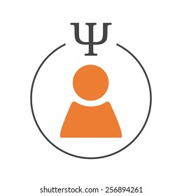 Psychology of personality logo. Person sign in a circle with psi letter
