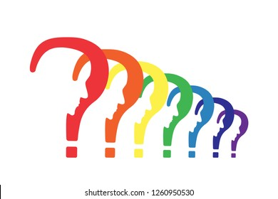 Psychology problem concept. Stock vector illustration of a question mark with cut out profile inside in a row .