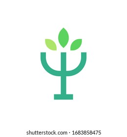 Psychology psi symbol with leaves logo template vector icon design