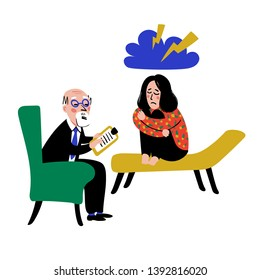 Psychology. Psychological help. Doctor and patient, a girl on sofa talking to therapist. Naive style flat vector illustration.