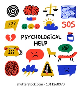 Psychology. Psychological help. Set of hand drawn icons on theme of psychology. Psychology, brain and mental health vector icons or logos set.Doodle style flat vector illustration.