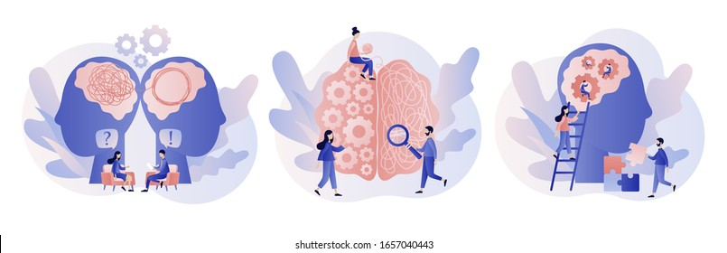 Psychology. Psychologist online. Psychotherapy practice, psychological help, psychiatrist consulting patient. Modern flat cartoon style. Vector illustration on white background
