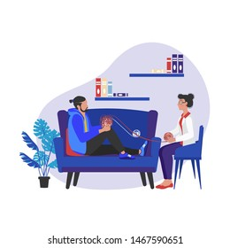 Psychology service, Consultation talking to psychologist, private counseling, family psychology concept.  Psychologist woman and  man patient in therapy session. Website landing web page template.