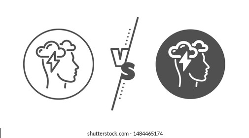 Psychology sign. Versus concept. Mindfulness line icon. Cloud storm symbol. Line vs classic mindfulness stress icon. Vector